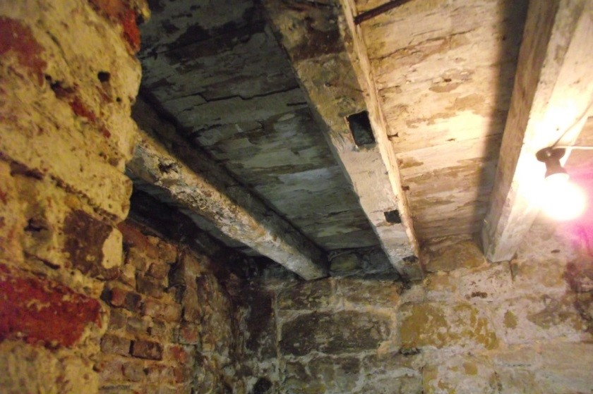 View looking east of beams 8 (the short one) and 2 & 3 showing evidence of re-use.