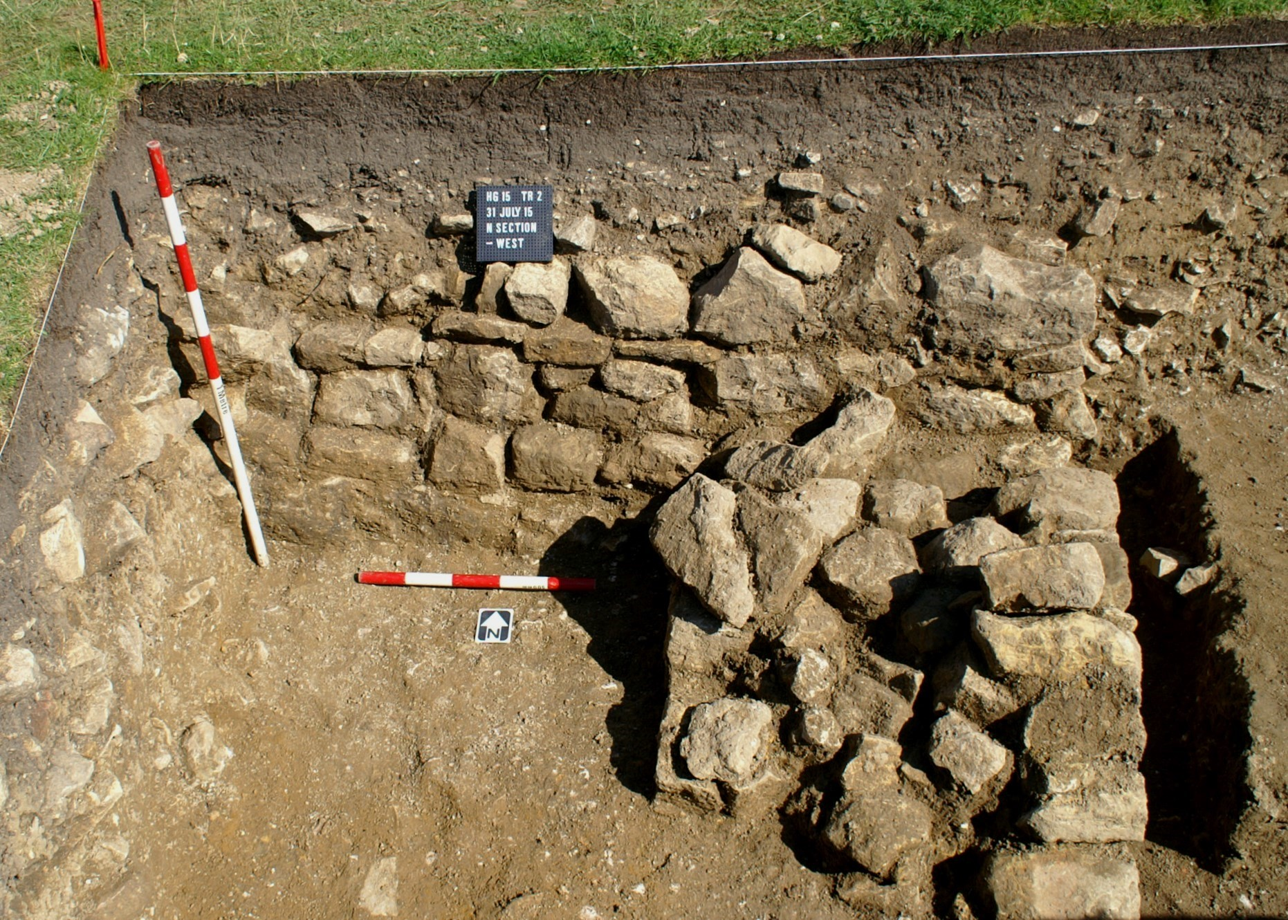 The wall at the western end of Trench 2