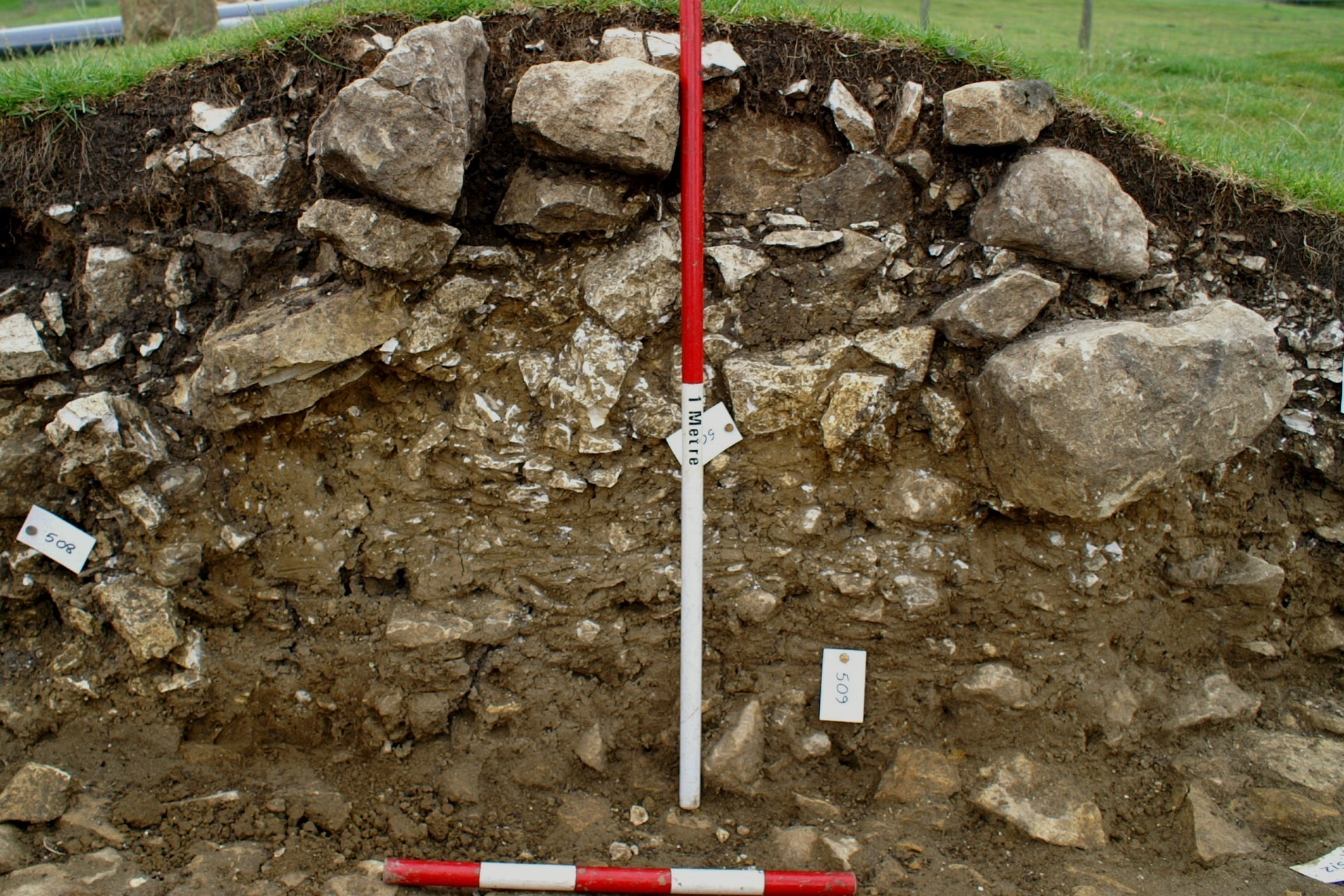 Section through the earthwork in Trench 5