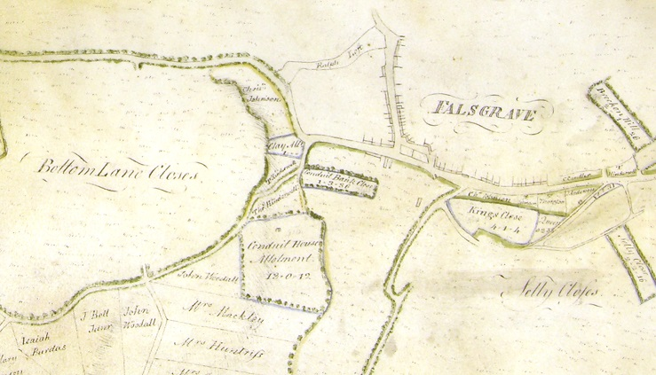 Extract from 18th century map showing Conduit House Allotment and the possible well house itself